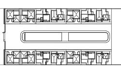 Grouped housings line plan detail dwg file