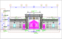 Guard house design with door and column view dwg file