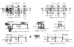 Guard housing detail elevation, plan and section 2d view layout dwg file