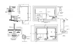 Guard room of pump house plan, foundation and auto-cad details dwg file