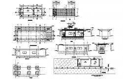 Guardhouse 130.00mtr x 35.00mtr with section and elevation in dwg file