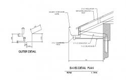 Gutter and eaves plan cad drawing details dwg file