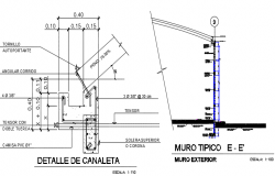 Gutter plan detail and typical wall detail dwg file