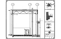 Gym constructive section plan detail dwg file