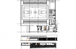 Gym plan, elevation and section detail dwg file