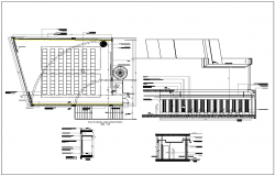 Hall office detail & seating arrangements plan view layout dwg file