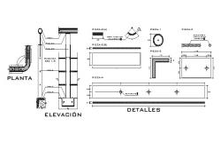 Handheld elevation and electrical installation details dwg file
