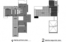 Hatching primary level and second floor plan detail dwg file