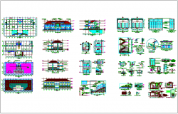 Head quarter design with door and stair view dwg file