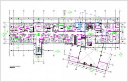Headquarters of municipality building second floor plan dwg file