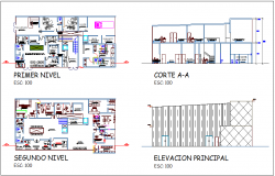 Health center design view with primary and second floor plan with section and elevation dwg file