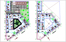Health center plan view with landscape view dwg file