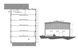 Heavy merchandise store section and foundation plan details dwg file