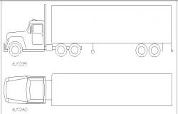 Heavy truck side and top view elevation block details dwg file