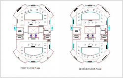 Heritage and art museum first and second floor plan with architectural view dwg file