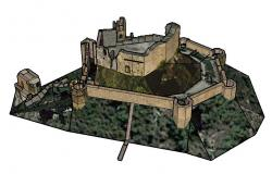 Heritage fort with old building 3d elevation cad drawing details dwg file