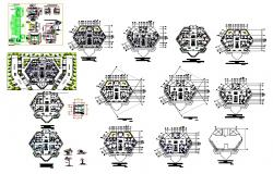 Hexagonal shape high rise building CAD structural block autocad file