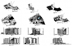 High Rise commercial building elevation, plan and section 2d view layout file