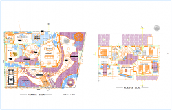 High and low plan for residential area with view architectural view dwg file