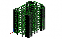 High rise 3D view detail dwg file