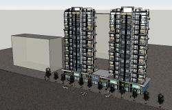 High rise 3d corporate building twin tower cad drawing details skp file
