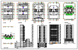 High rise building 18 floors and 4 basements plan design drawing