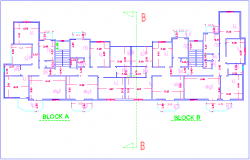 High rise building architectural plan with block A and B dwg file