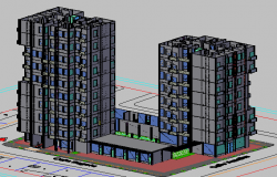 High rise building elevation design dwg file