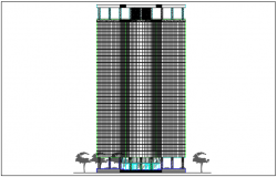High rise building elevation plan detail dwg file