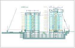 High rise building elevation section view detail dwg file