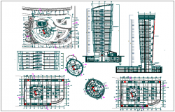 High rise building floor plan,elevation and section view dwg file