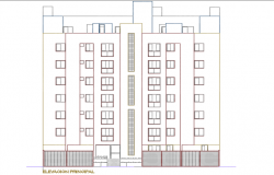High rise building front elevation plan detail dwg file