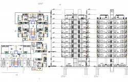 High rise building plan and section detail dwg file