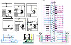 High-rise building plan detail dwg file