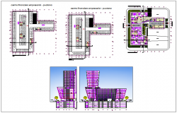 High rise building plan detail view dwg file