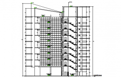 High rise building section A-A' detail dwg file