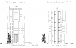 High rise building sections plan detail dwg file,