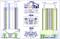 High rise commercial building elevation section view and plan view detail dwg file