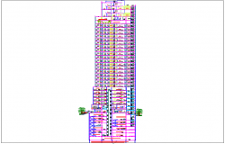 High-rise commercial building view dwg file