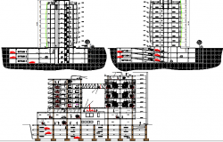High rise corporate building elevation and sectional details dwg file
