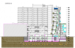 High rise corporate building elevation and sectional view dwg file