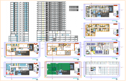 High rise hotel architecture design and drawing in cad dwg