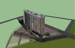 High rise twin corporate buildings 3d model drawing details skp file