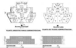 High school Plan and elevation detail dwg file