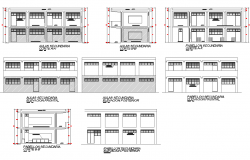 High school elevation and section view dwg file