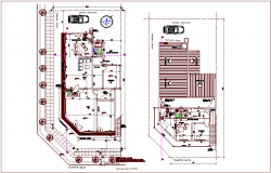 Higher and lower plan of residential area dwg file