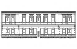 Historic two level building facade elevation cad drawing details dwg file