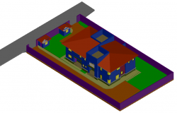 Home 3d view with architectural view dwg file