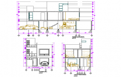 Home Elevation and section plan layout file