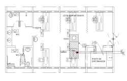 Hospital building operation room detail plan 2d view layout autocad file
